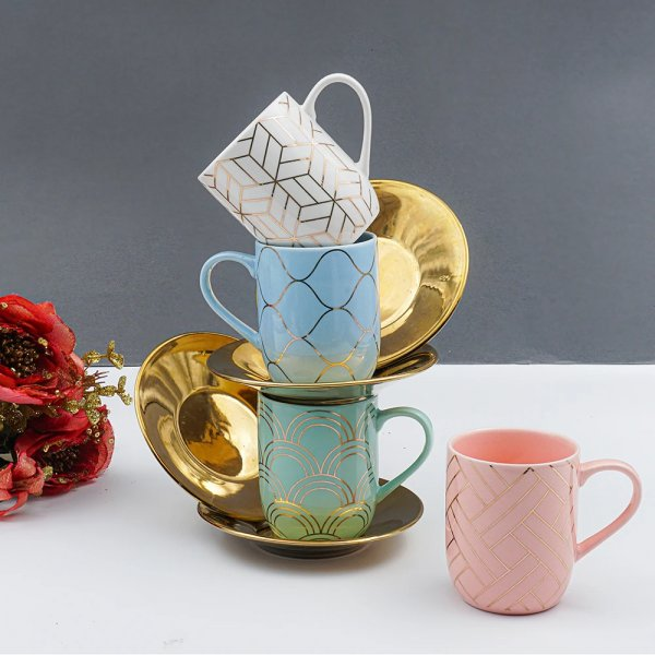 Geometric Pattern Cup with Golden Saucer Set