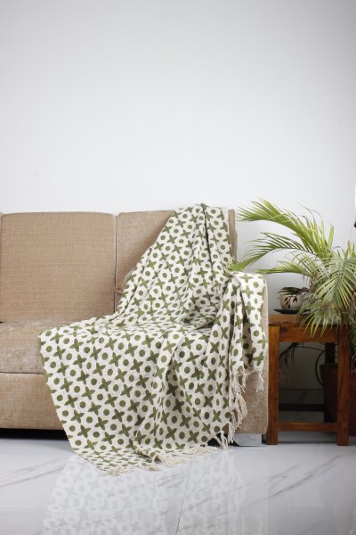 Dotty Leaf Print Throw
