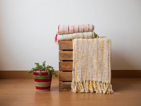 Yellow Woven Striper Throw