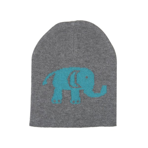 Baby Elephants - Heather Grey & Blue Color Cotton Knitted Caps for Baby