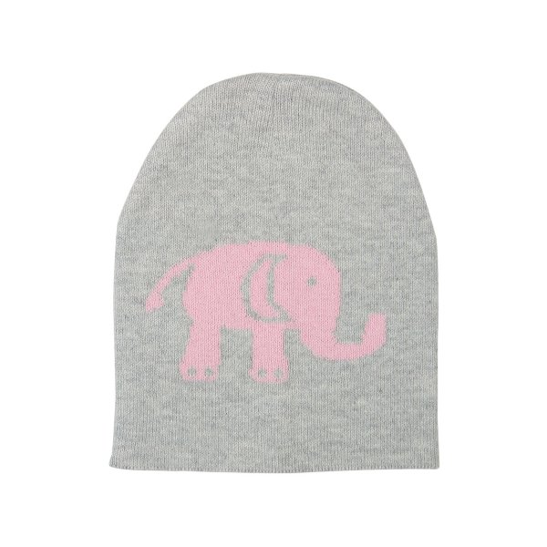 Baby Elephants - Vanilla Grey & Pink Cotton Knitted New Born