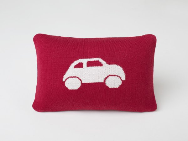 Car - Kids Cushion Cover in Red & Natural Colour
