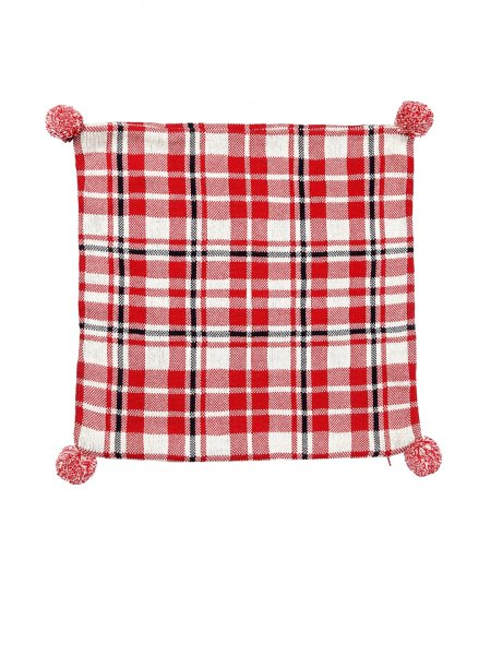 Checkard - Red, Natural & Dark Navy Colour Cotton Knitted Cushion Cover with Pompom