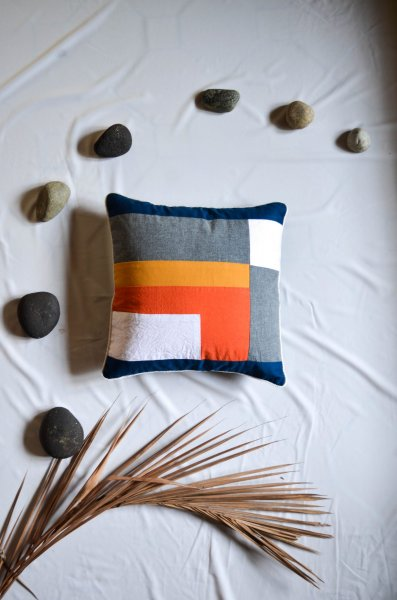 Color Blocked Cushion Cover