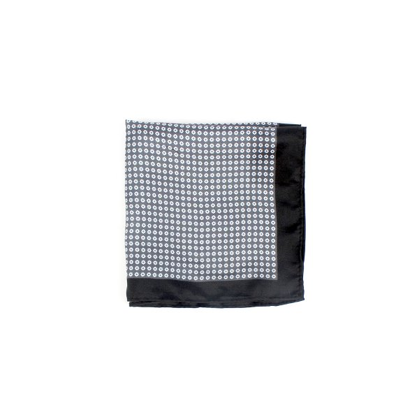 Dotted Floral Twist Pocket Square, Charcoal Black