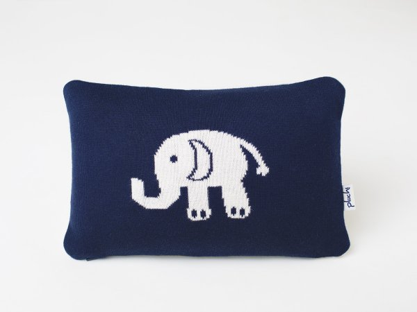 Elephant - Kids Cushion Cover in Dark Navy & Natural Colour