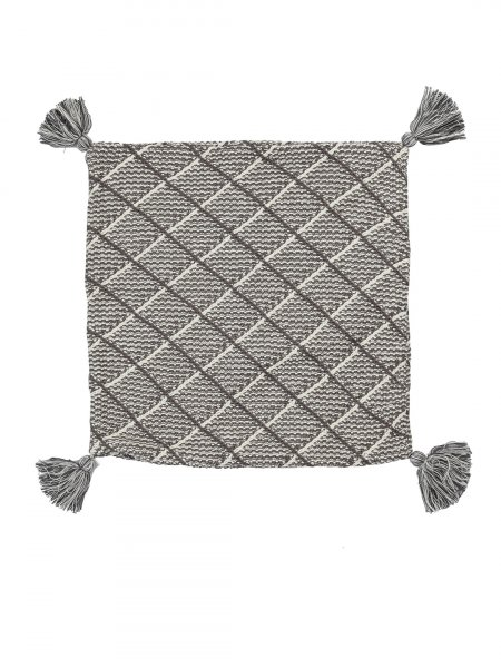 Esther - Natural Trolley Grey & Natural Color Cotton Knitted Cushion Cover in Tassel