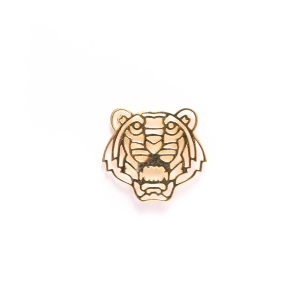 Geo Facet Tiger Head Lapel Pin in Yellow Gold Plating