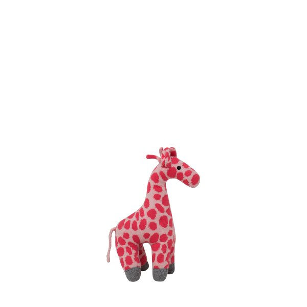 Giraffe - Bubblegum Pink & Medium Grey Melange Color Cotton Knitted Stuffed