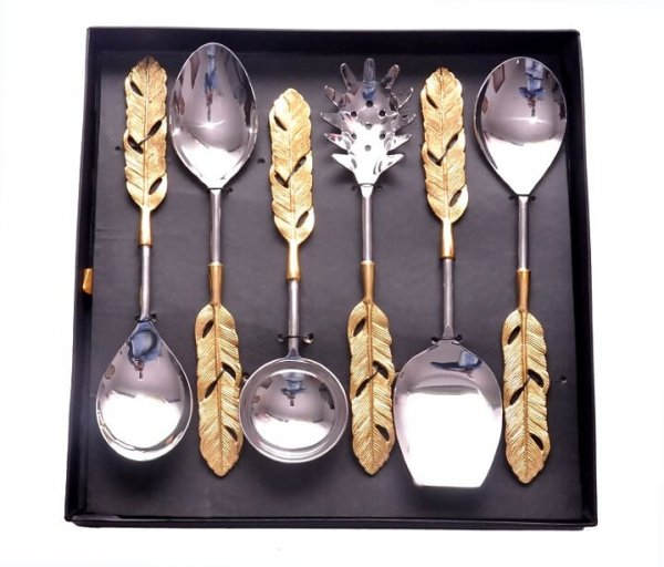 Golden Feather Serving Spoon Set
