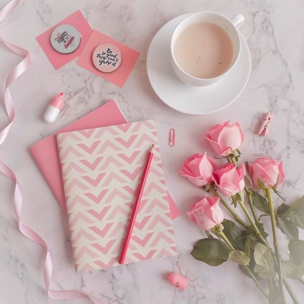 Yellow & Pink Chevron Notebook