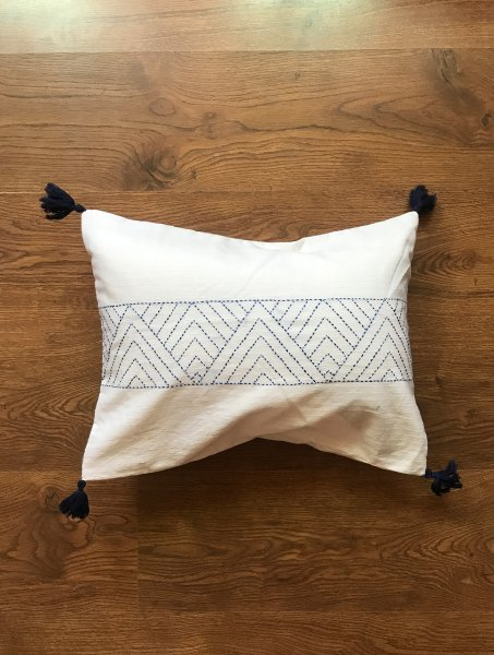 Indigo Hand Embroidered Cushion Cover