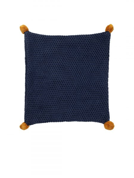 Ladon - Navy Melange Color Cotton Knitted Cushion Cover with Mustard Color Pompom