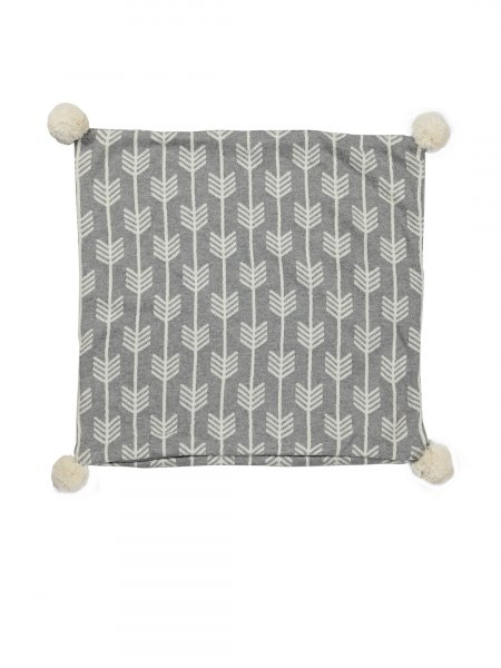 Liam - Grey & Natural Colour Cotton Knitted Cushion Cover with Pompom