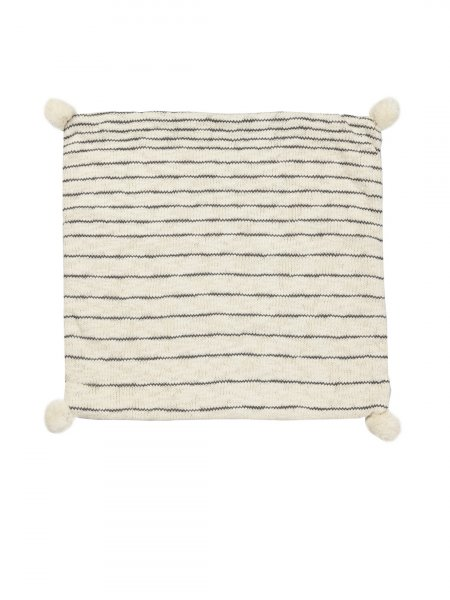 Lucas - Natural & Dark Grey Color Cotton Knitted Cushion Cover with Natural Color Pompom