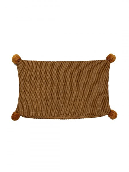 Mason - Cool Wheat Color Cotton Knitted Cushion Cover with Pompom (No Fill Inside)