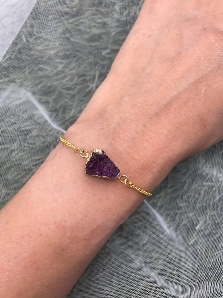 Agate Bracelet - Druzy Purple Arrow