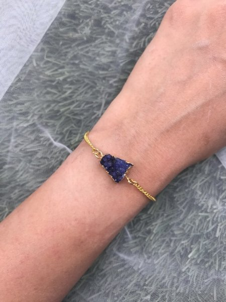Agate Bracelet - Druzy Blue Arrow