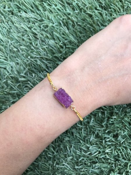 Agate Bracelet - Druzy Purple Rectangle