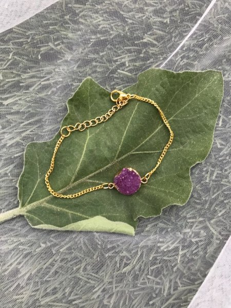 Agate Bracelet - Druzy Purple Dot