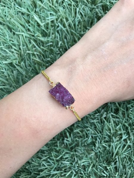 Agate Bracelet - Druzy Purple Bar