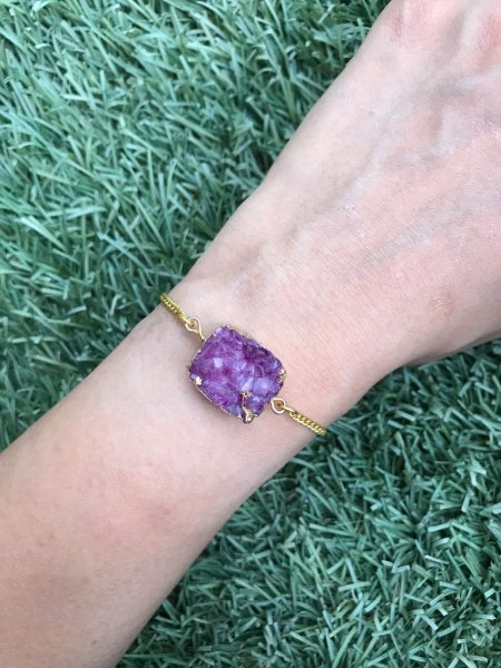 Agate Bracelet - Druzy Purple Box