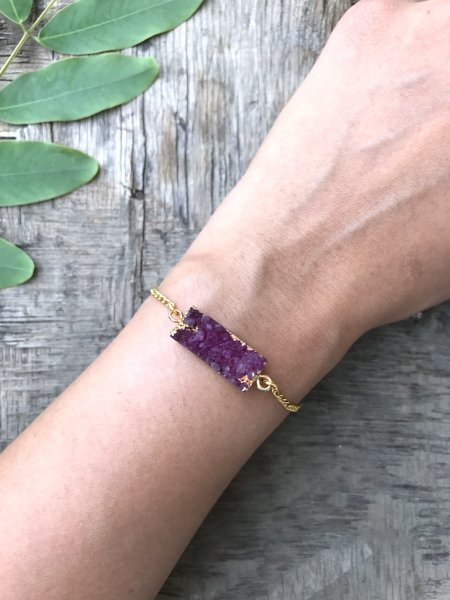 Agate Bracelet - Purple Druzy Bar