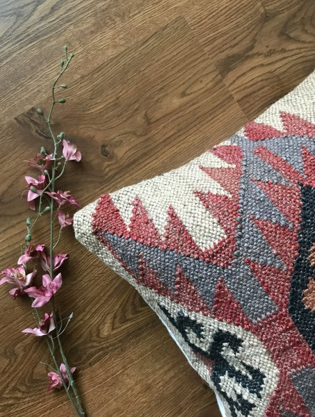 Off White Jute Wool Kilim Cushion Cover