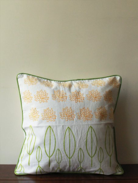 Orange Lotus And Leaves Cushion Cover