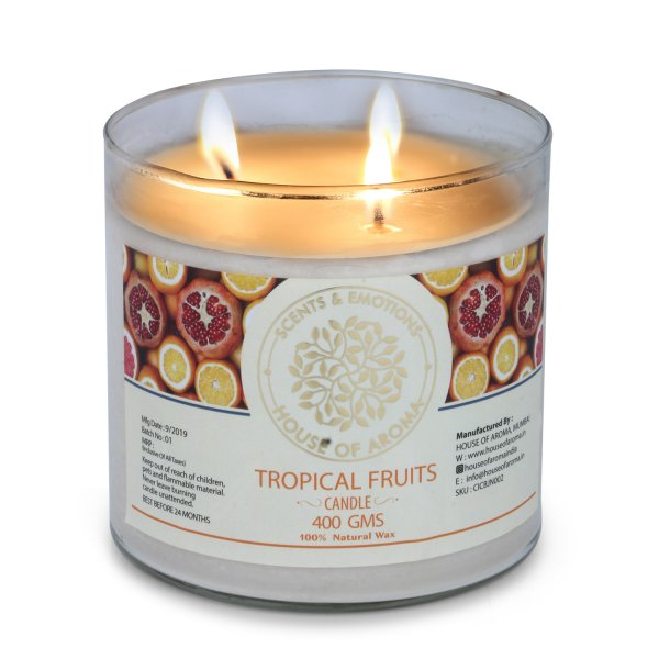 Organic Tropical Fruits 3 Wick Candle