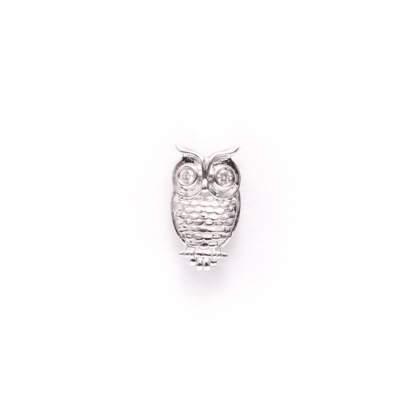 Owl Lapel Pin in White Gold Plating
