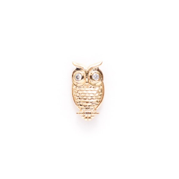 Owl Lapel Pin in Yellow Gold Plating