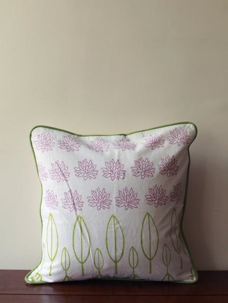 Pink Lotus and Leaves Cushion Cover