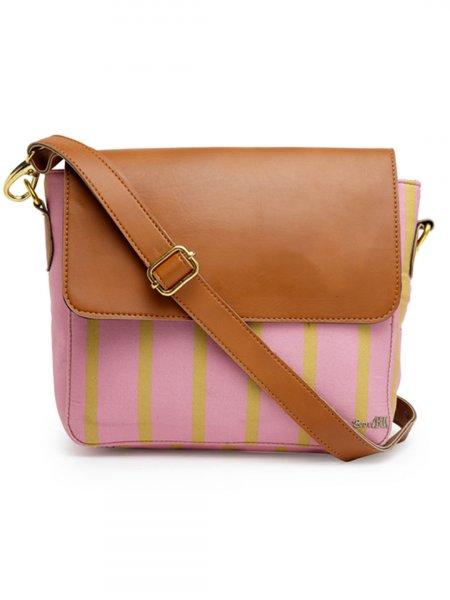 Pink Stripe Sling Bag