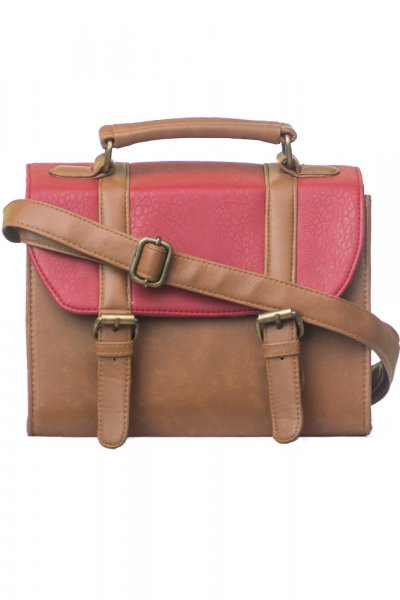 Red Tan Box Bag