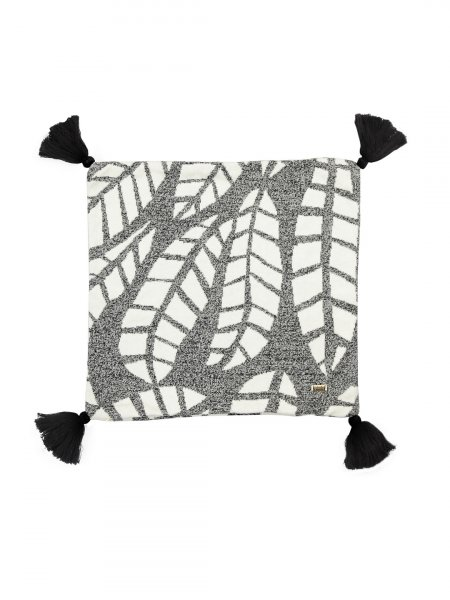 Samuel - Black & Natural Colour Cotton Knitted Cushion Cover with Tassel