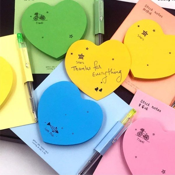 Heart Shaped Sticky Notes With Pen