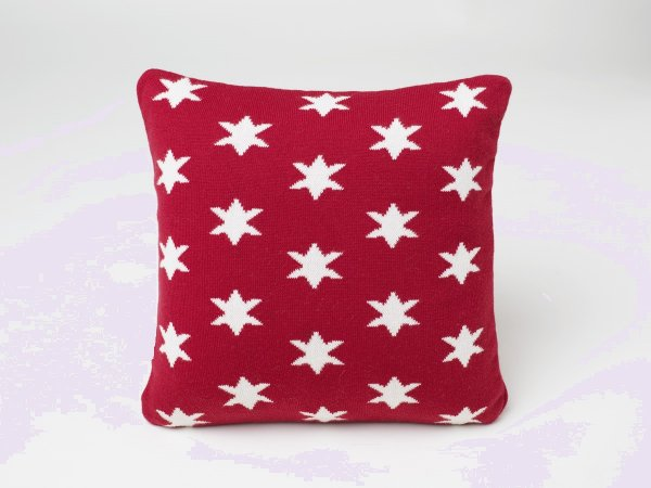 Stars - Kids Cushion Cover in Red & Natural Colour