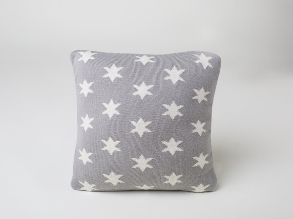 Stars- Kids Cushion Cover in Grey & Natural Colour