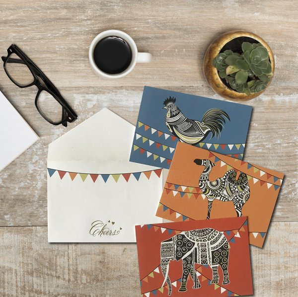 Bunting Elephants Cards