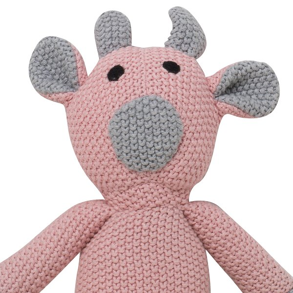 Toby - Bubblegum Pink & Light Grey Melange Color Cotton Knitted Stuffed