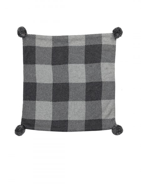 Urja - Natural & Dark Grey Colour Cotton Knitted Cushion Cover with Pompom