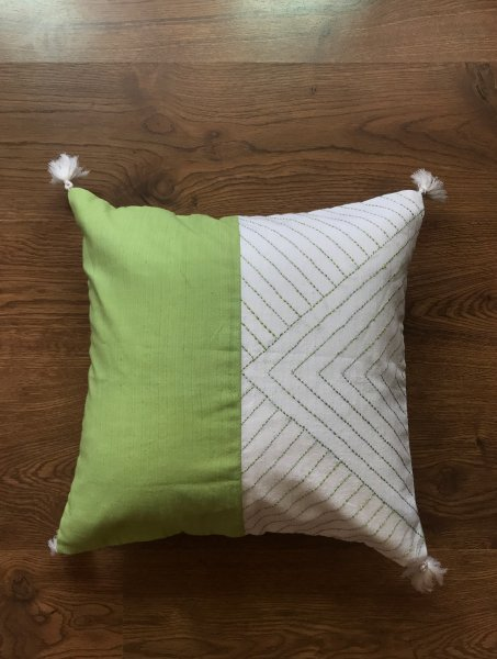 Yellow Embroidered Cushion Cover
