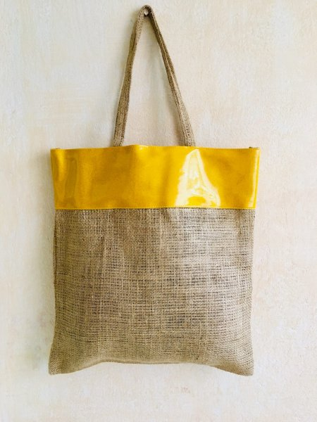 Yellow Gold Jute Bag