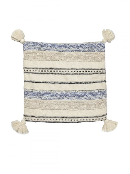Zane - Natural Black & Blue Color Cotton Knitted Cushion Cover with Tassel